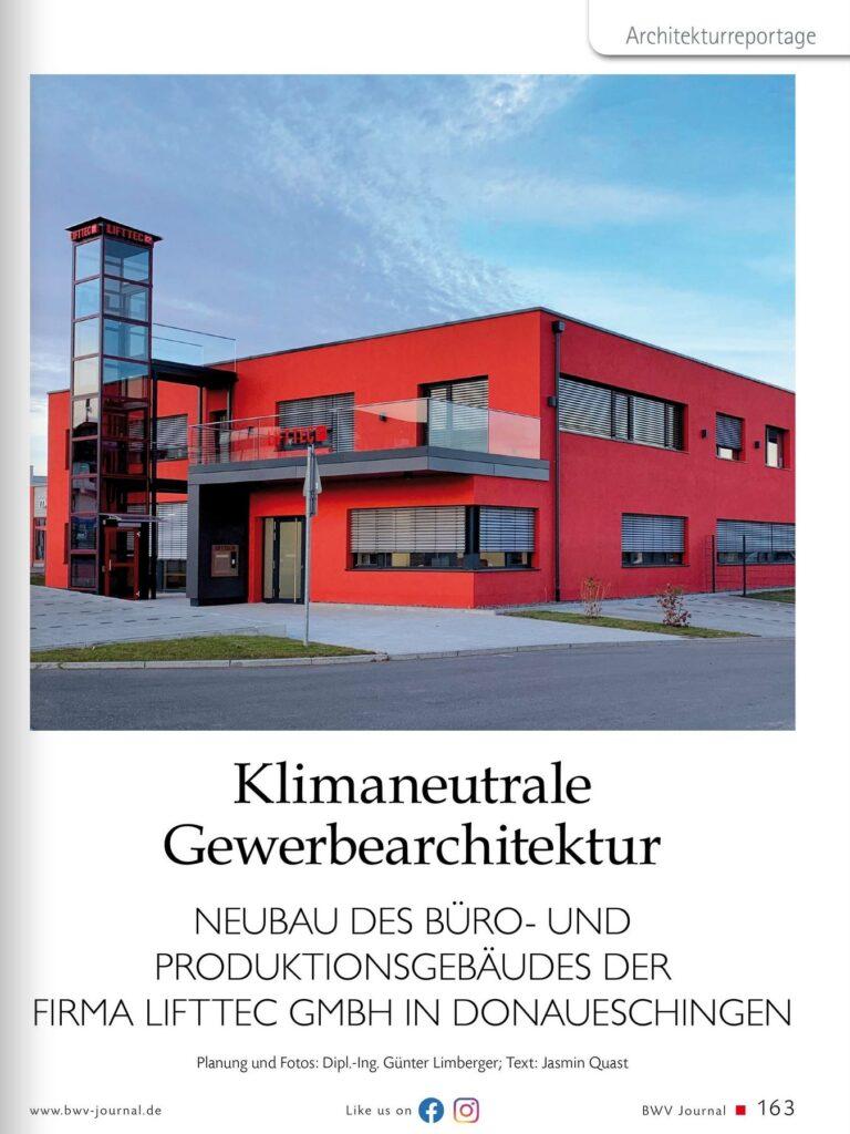 Klimaneutrale Gewerbearchitektur LiftTec in BWV Journal